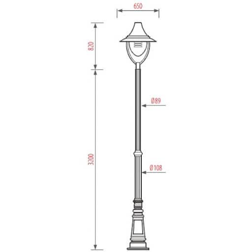 Cột đèn PINE lắp 1 bóng có thể thích hợp cho nhiều kiểu dáng, công suất đèn khác nhau