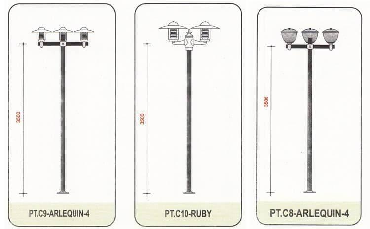 Cột đèn chiếu sáng sân vườn Arlequin có khả năng kết hợp với đa dạng các loại tay chùm