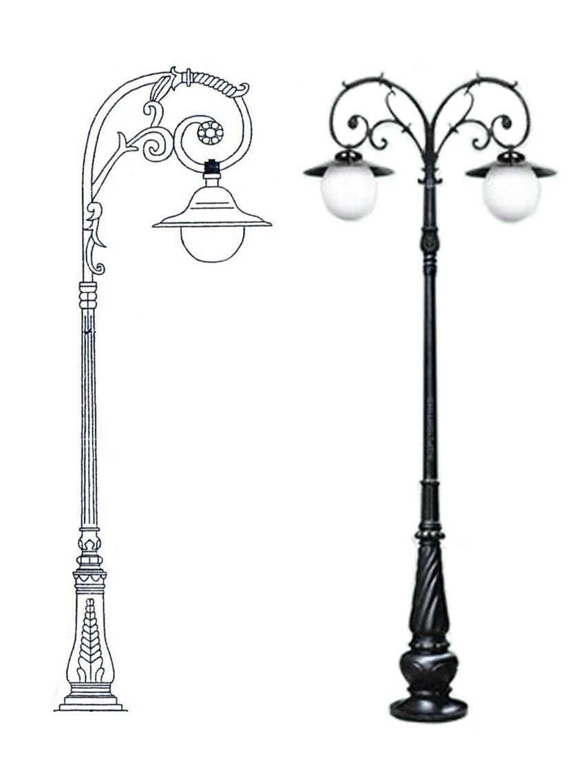 Cột đèn chiếu sáng sân vườn Arlequin lắp đèn mai chiếu thủy.