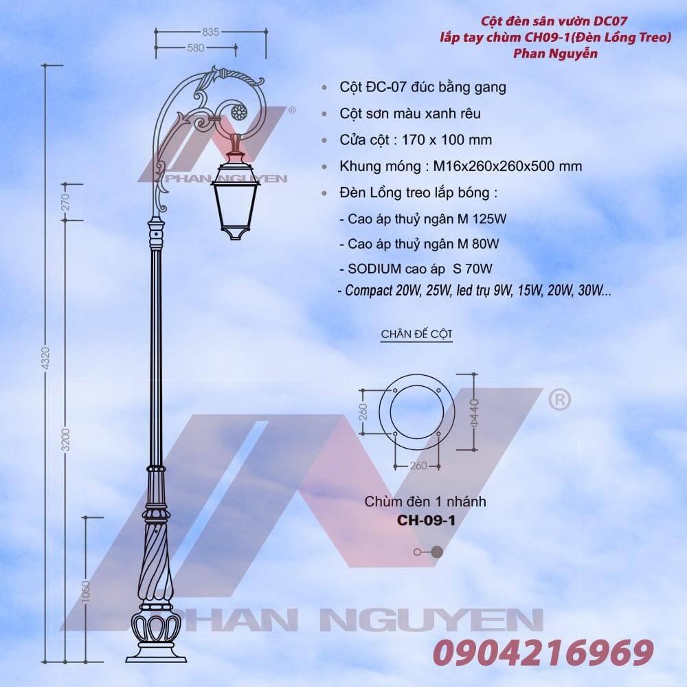 Cột đèn chiếu sáng sân vườn Banian DC 07 lắp tay chùm CH09 - 1 bóng đèn lồng treo