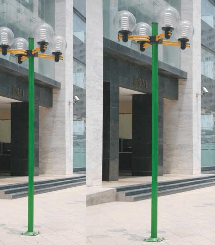 Cột đèn có tay chùm thiết kế tiện lợi, lắp được nhiều loại đèn và bóng khác nhau.