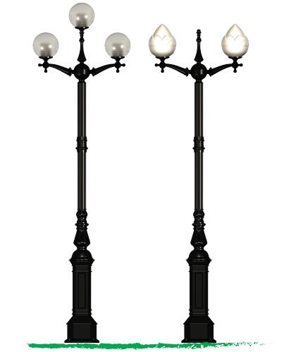 Cột đèn lắp tay chùm CH06 loại 3 bóng và 2 bóng