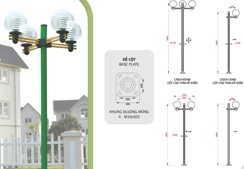 Cột đèn sân vườn Arlequin được ứng nhiều trong các công trình hiện nay