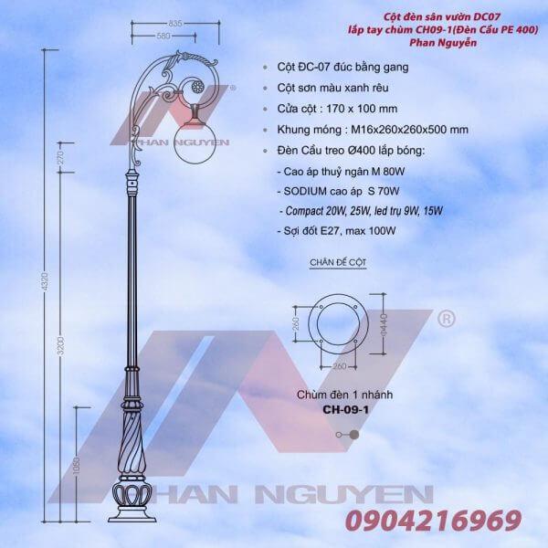 Cột đèn Banian DC07đế gang thân nhôm tay chùm CH09 – 1 bóng treo