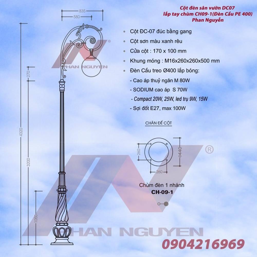 Cột đèn sân vườn Banian DC 07 lắp tay chùm CH09 - 1 bóng đèn cầu PE 400