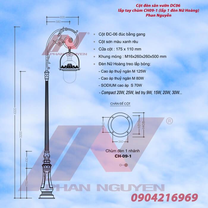 Cột đèn sân vườn DC06 đế gang thân nhôm lắp tay chùm CH09 - 1 bóng treo