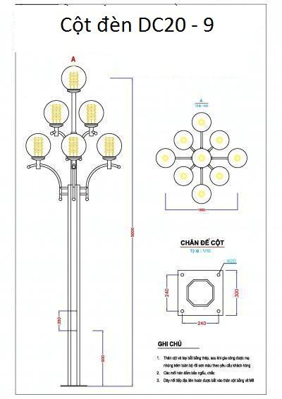 Cột đèn DC20 được thép mạ kẽm nhúng nóng và sơn.