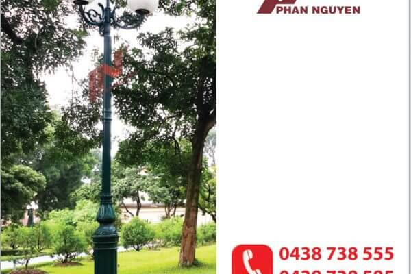 Cột đèn sân vườn DC05B đế gang thân nhôm lắp tay chùm CH06 - 4 bóng