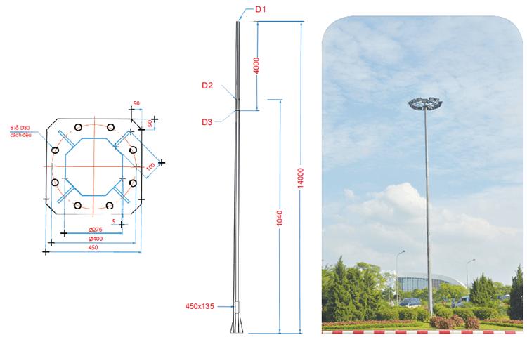 Một vài thông số về cột đèn Arlequin
