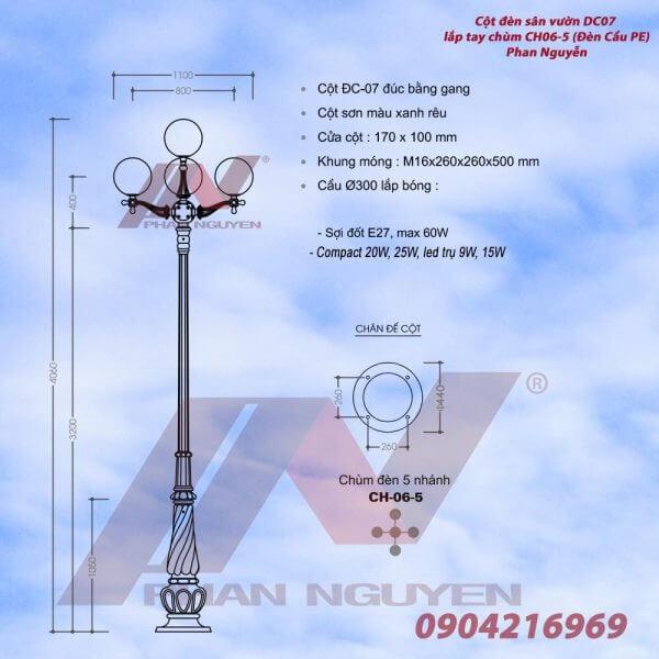 Cột đèn sân vườn Banian DC 07 lắp tay chùm 5 bóng