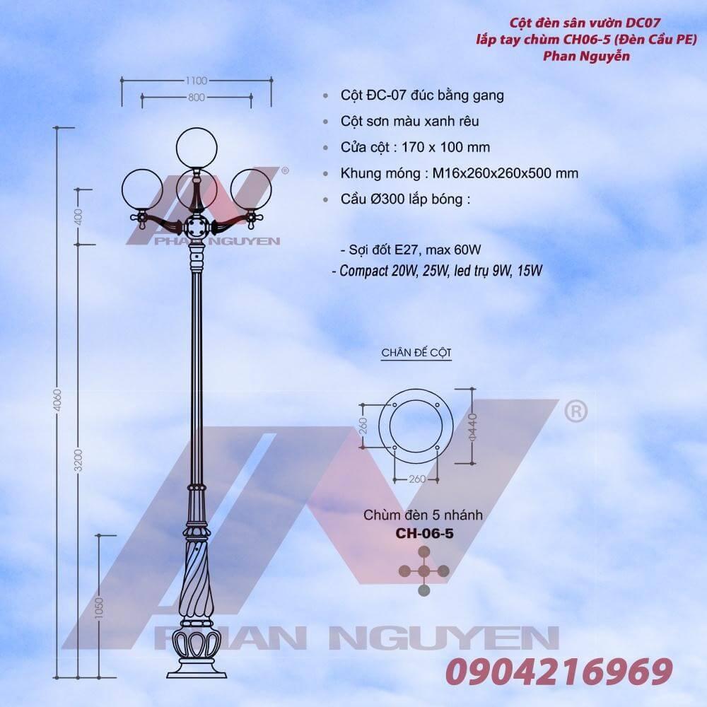 Phan Nguyễn - địa chỉ bán cột đèn sân vườn Banian DC 07 với thiết kế đèn tay chùm 5 bóng