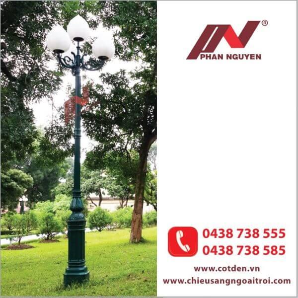 Cột đèn sân vườn Banian DC 07 đế gang thân nhôm lắp tay chùm CH07 – 3 bóng