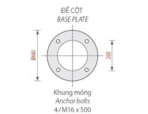 Sản phẩm cột đèn Banian DC 07 có thiết kế phần đế chắc chắn, an toàn