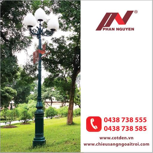 Cột đèn sân vườn PINE đế gang thân nhôm lắp tay chùm CH11 – 5 bóng