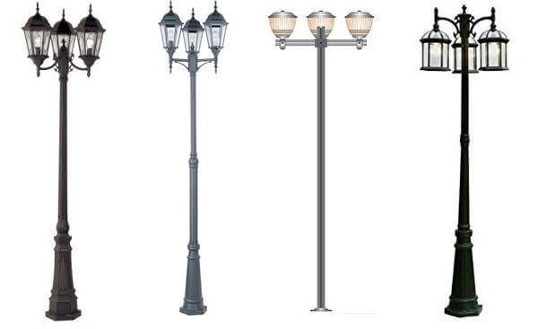 Thiết kế cột đèn Arlequin đế gang thân nhôm tay chùm CH07 – 3 bóng khá đa dạng