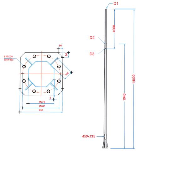Thiết kế cột đèn Arlequin đế gang thân nhôm