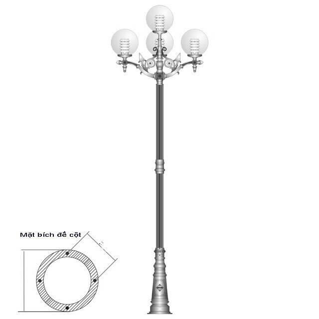 Thiết kế cột đèn PINE lắp tay chùm 4 bóng