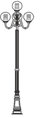 Thiết kế cột đèn PINE loại đế gang thân nhôm lắp tay chùm CH08