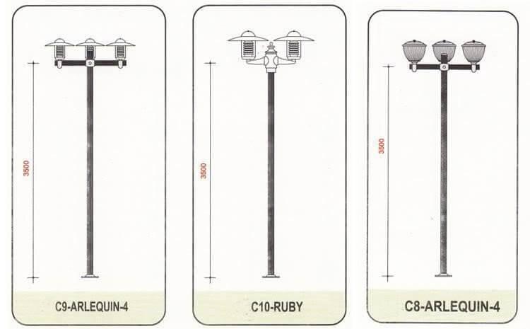 Thiết kế cột đèn sân vườn Arlequin