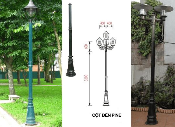 Thiết kế của cột đèn PINE lắp đèn Jupiter, lắp đèn nón, lắp đèn cầu tại sân vườn