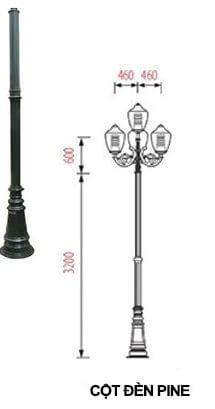 Thiết kế đẹp mắt của cột đèn PINE lắp tay chùm CH08 lắp 4 bóng