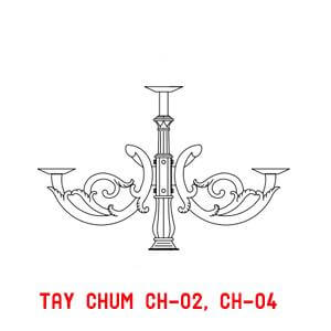 Thiết kế tay chùm CH04 - 4 bóng