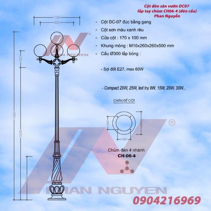 Thông số kỹ thuật của sản phẩm cột đèn chiếu sân vườn PINE