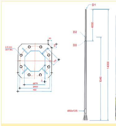 Từ phần đế đến phần thân cột đèn đều được làm từ chất liệu cao cấp là gang đúc vô cùng chắc chắn