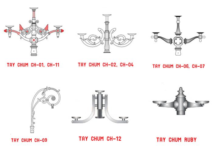 Các mẫu tay chùm có thể lắp cột DC 07 - tùy theo yêu cầu khách hàng mà làm thêm nhánh để lắp 2, 3, 4,,5 bóng