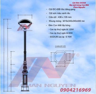 Cột đèn DC05B lắp đèn con mắt