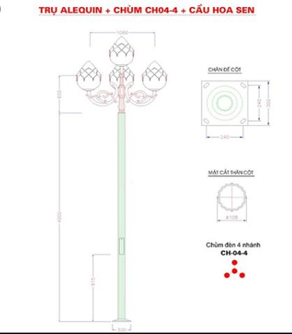 Cột đèn sân vườn Arlequin đế gang thân nhôm lắp tay chùm CH04 – 5 bóng