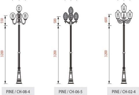 Cột đèn sân vườn PINE đế gang thân nhôm lắp tay chùm CH06 – 5 bóng