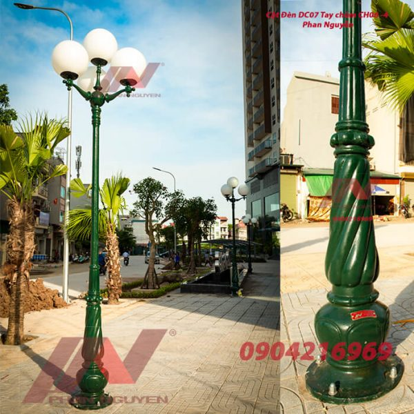 Cột đèn sân vườn Banian DC 07 đế gang thân nhôm lắp tay chùm CH06 – 5 bóng