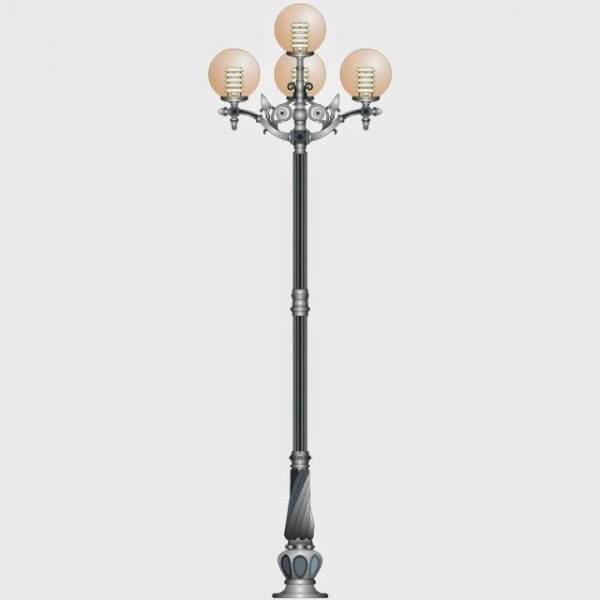 Cột đèn sân vườn Banian DC 07 đế gang thân nhôm lắp tay chùm CH11 – 5 bóng