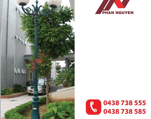 Cột đèn sân vườn DC02 lắp tay chùm hoa lá