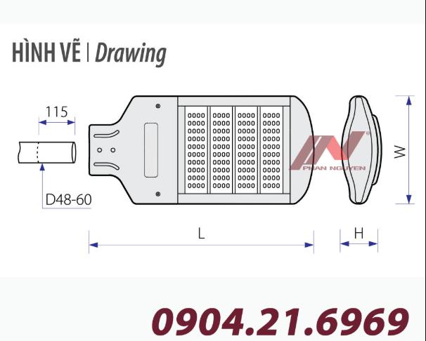 Halumos Hp 90W được sản xuất với chất liệu cao cấp, vẻ ngoài được thêm sơn tĩnh điện, tăng tuổi thọ của đèn
