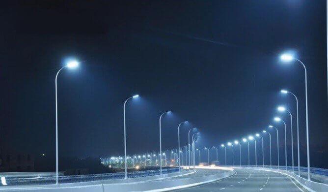 Lắp đèn LED cao áp 2 bên khi đường rộng
