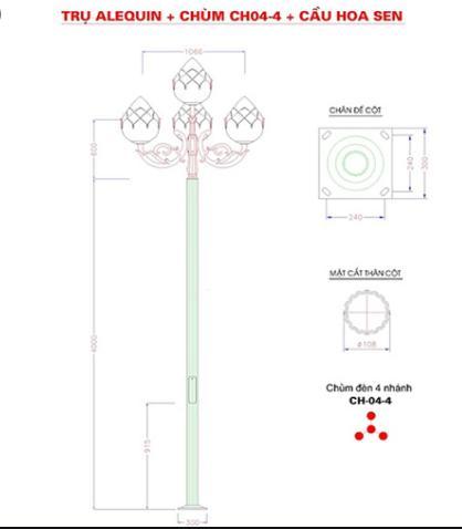 Cột đèn sân vườn Arlequin đế gang thân nhôm lắp tay chùm CH04 – 4 bóng