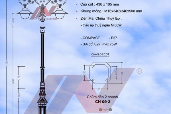 Cột đèn sân vườn DC 05B lắp tay chùm 2 bóng