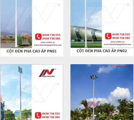 Cột đèn chiếu sáng 17m - Cột đèn sân bóng, sân tennis tiêu chuẩn