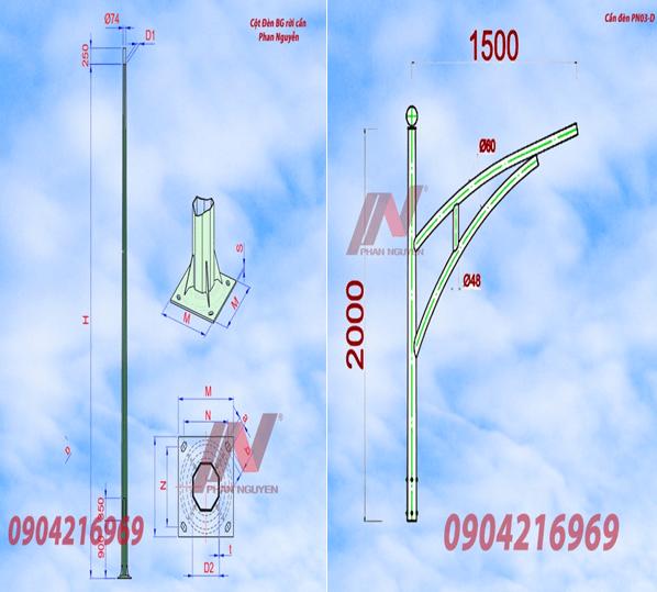 Cột đèn cao áp 10m bát giác rời cần BG10-78 lắp Cần đèn đơn PN03-D
