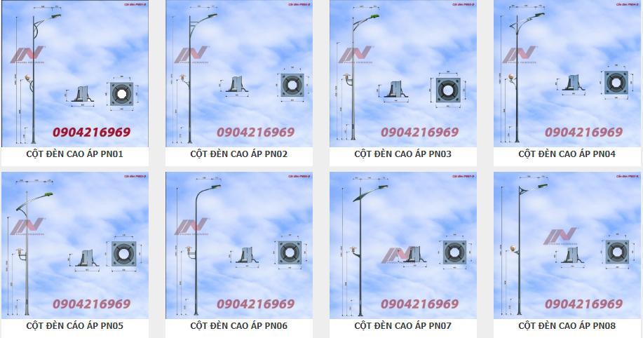 Cột đèn chiếu sáng tiêu chuẩn cột thép mạ kẽm cao áp